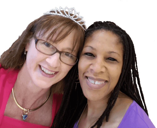 picture of Becky Dean with a tiara and Annelisa with dreadlock braids