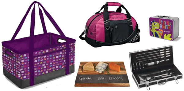 picture of past Home Office Challenge prizes... duffle bag, cutting, grill tool set, kids lunch box, large rectangular bag tote