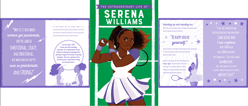 image of the Extraordinary Lives biography about Serena Williams by Kane Miller - Usborne Books & More - pictures Serena Williams on the front cover
